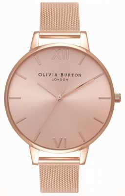Olivia Burton | Womens | Big Sunray Dial | Rose Gold Mesh Bracelet | OB16BD102