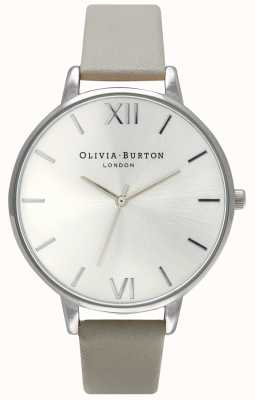 Olivia Burton | Womens | Silver Dial | Grey Leather Strap | OB15BD57