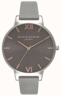 Olivia Burton | Womens | Big Grey Dial | Grey Leather Strap | OB16BD90
