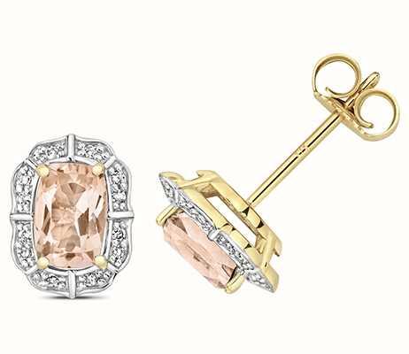 Treasure House 9k Yellow Gold Diamond Morganite Stud Earrings ED264M