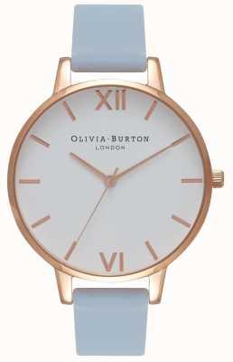 Olivia Burton | Womens | Big White Dial | Chalk Blue Strap | OB16BDW18