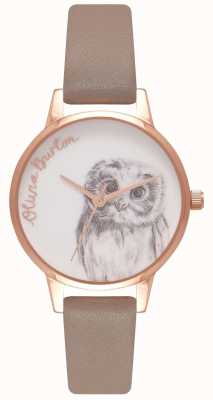 Olivia Burton | Womens | Owl Motif | Iced Coffee Leather Strap | OB16AM110