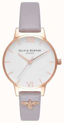 Olivia Burton | Womens | 3D Bee | Embellished Leather Grey Lilac Strap | OB16ES11