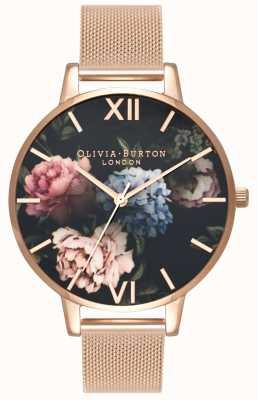 Olivia Burton | Womens | Dark Bouquet Dial | Rose Gold Mesh Bracelet | OB16WG52