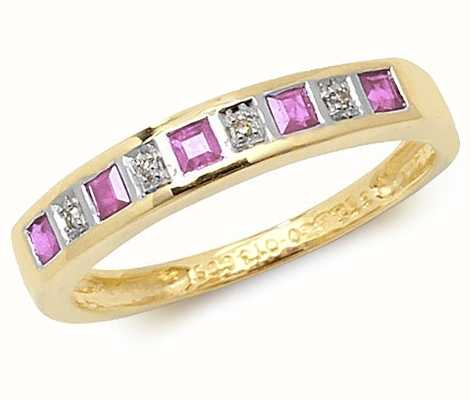 Treasure House 9k Yellow Gold Pink Sapphire and Diamond Ring RD217PS