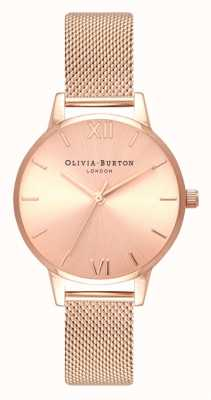 Olivia Burton | Womens | Midi | Sunray Dial | Rose Gold Mesh Bracelet | OB16MD84