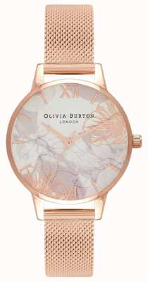 Olivia Burton | Womens | Abstract Florals | Rose Gold Mesh Bracelet | OB16VM11