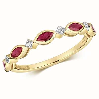 James Moore TH 9k Yellow Gold Ruby Diamond Cluster Ring RD472R
