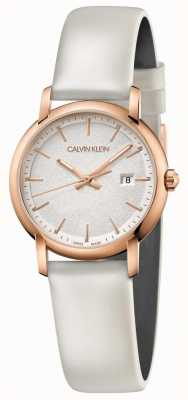 Calvin Klein | Womens Established | White Leather Strap | Silver Dial | K9H236L6
