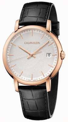 Calvin Klein | Mens Minimal | Black Leather Strap | White Dial | K9H216C6
