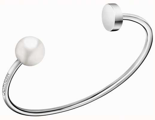Calvin Klein | Bubbly Silver Stainless Steel White Pearl Bangle | KJ9RMF04030M