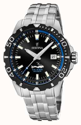 Festina | Mens Divers | Stainless Steel Bracelet | Black/Blue Dial | F20461/4