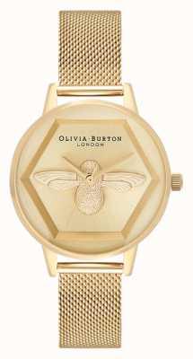 Olivia Burton | 3D Bee Charity Watch | YellowGold Mesh | Gold Bee Motif OB16AM169