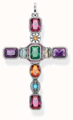 Thomas Sabo Pendant 'Cross' Colourful Stones 925 Sterling Silver PE859-294-7