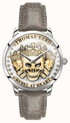 Thomas Sabo | Men's Rebel Spirit 3D Skulls | Gold Dial | Leather Strap | WA0356-273-207-42