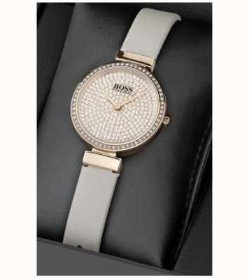 Boss Women's Leather Crystal Set Watch And Bracelet Set 1570094