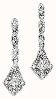 Elements Gold 9ct White Gold Diamond Vintage Drop Earrings GE715