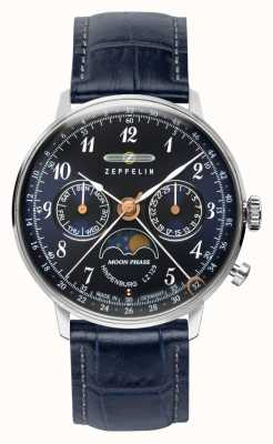 Zeppelin LZ129 Hindenburg Quartz | 36mm Moon Phase | Blue Dial 7037-3