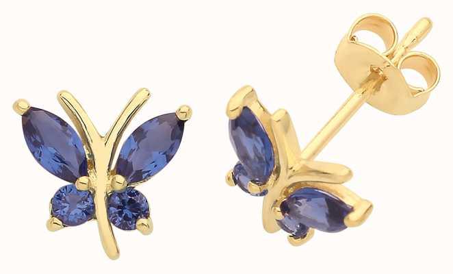 Treasure House 9ct Gold Blue Cz Butterfly Stud Earrings ES1602S