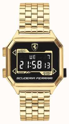 Scuderia Ferrari   Men's Digidrive   Gold Plated Bracelet   Black Dial   0830705