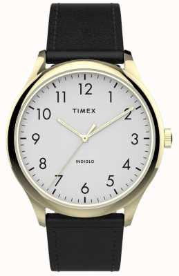 Timex | Easy Reader 40mm | Black Leather Strap | White Dial | TW2T71700