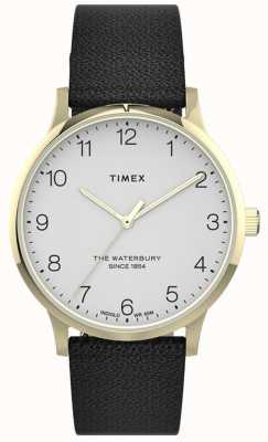 Timex | Women's Waterbury | Black Leather Strap | White Dial | TW2T75200