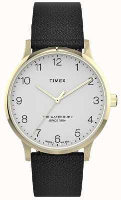 Timex | Women's Waterbury | Black Leather Strap | White Dial | TW2T75200