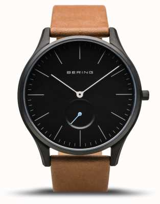 Bering | Classic | Men's Mat Black | Brown Calfskin Leather | 16641-522