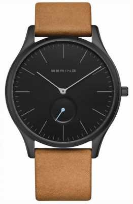 Bering | Classic | Men's Mat Black | Brown Calfskin Leather | 16641-522