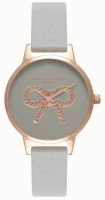 Olivia Burton | Womens | 3D Vintage Bow | Grey Leather Strap OB16VB04