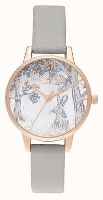 Olivia Burton | Womens | Snow Globe Winter Bunny | Grey Leather Strap OB16SG06