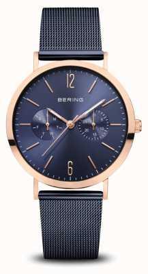 Bering | Classic | Polished Rose Gold | Blue Mesh Bracelet | 14236-367