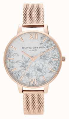 Olivia Burton | Womens | Terrazzo Florals | Rose Gold Mesh Bracelet | OB16TZ04
