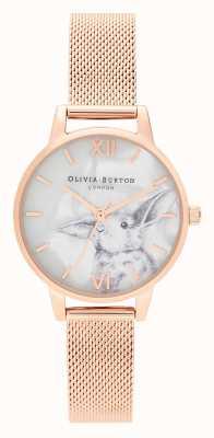 Olivia Burton | Womens | Illustrated Animals | Bunny | Rose Gold Mesh | OB16WL85