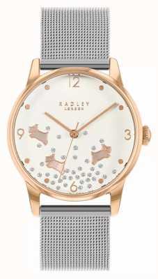Radley Ditsy Dog Glitter | Silver Mesh Bracelet | Silver Dial | RY4405