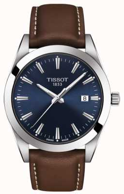 Tissot Gentleman   Brown Leather Strap   Blue Dial   T1274101604100