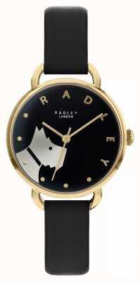 Radley Wood Street | Black Leather Strap | Black Dial Dog Motif | RY2876