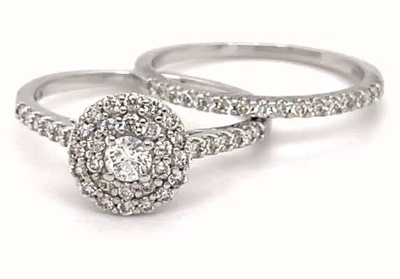 Perfection Diamond 9ct White Gold Diamond Cluster And Diamond Wedding Band Set 0.66ct Total ES13788CA-9G14699W
