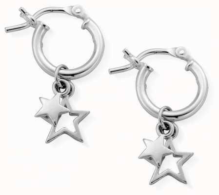 ChloBo | Women's Double Star | Small Hoop Earrings | SEH738