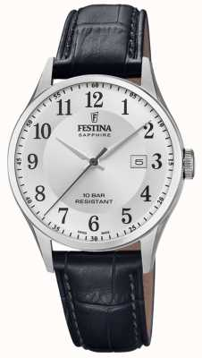 Festina   Men's Swiss Made   Black Leather Strap   Silver Dial   F20007/1