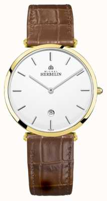 Michel Herbelin | Men's Epsilon | Brown Leather Strap | Silver Dial | 19406/P11GO