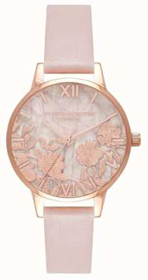 Olivia Burton | Semi Precious | Vegan Rose PU Leather | Lace Dial | OB16MV84