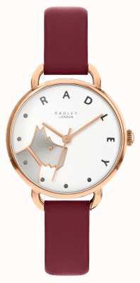 Radley | Women's Wood Street | Merlot Leather Strap |White Dog Dial RY2874