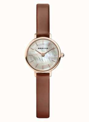 Bering   Women's Classic   Brown Leather Strap   Mother Of Pearl   11022-564