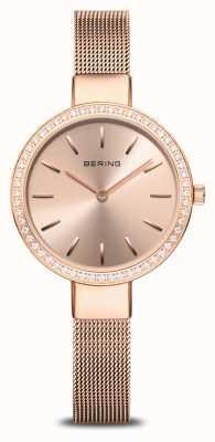 Bering   Women's Classic   Rose Gold Mesh   Crystal Set Bezel 16831-366