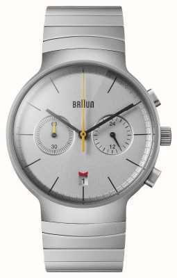 Braun Men's Chrono | Silver Dial | Black Leather Strap BN0265SLBTG