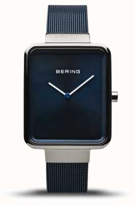 Bering Classic | Polished/Brushed Silver | Blue Mesh Strap | 14528-307