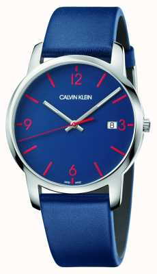 Calvin Klein | Men's City | Blue Leather Strap | Blue Dial | K2G2G1VX