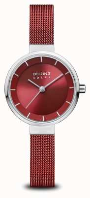 Bering Solar | Polished Silver | Red Mesh Bracelet | Red Dial | 14627-303
