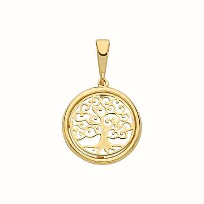 James Moore TH 9ct Yellow Gold Tree Of Life 1.5cm 2.2cm Drop Pendant Only PN1077